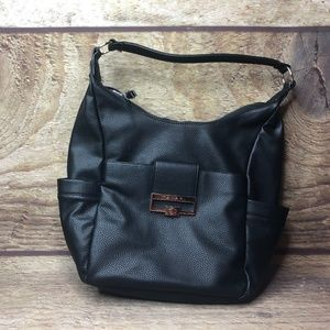 TAHARI Black Leather Purse Tote Bag NEW Button